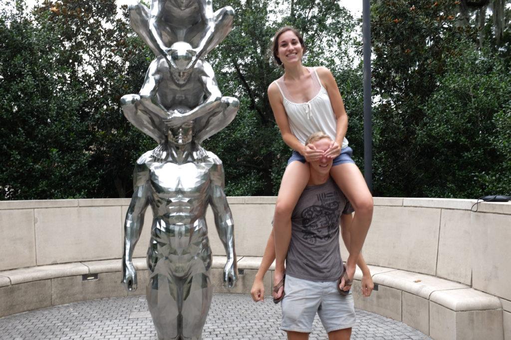 mimicking statue in Sydney and Walda Besthoff Sculpture Garden