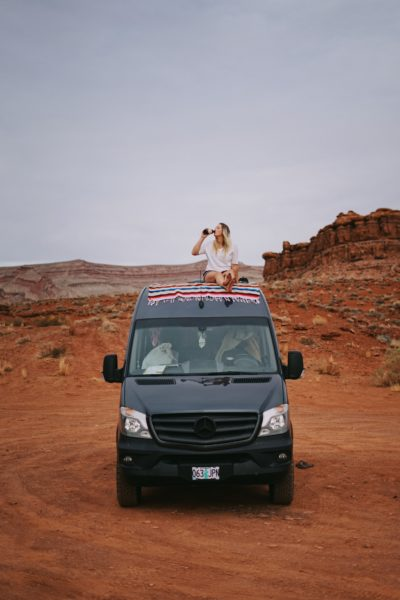 so we bought a van primitive camping in Mexican Hat, Utah
