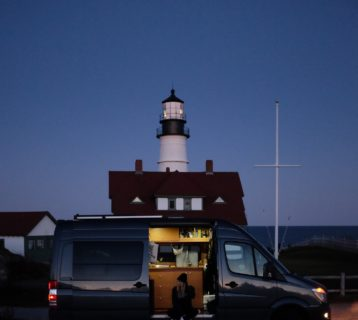 so we bought a van parked in front of famous maine lighthouse