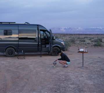 so we bought a van making lumpia for dinner on BLM in moab utah