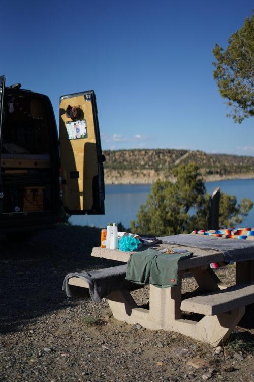 camping and swimming at navajo state park