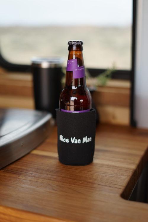 beer in a nice van man coozie in so we bought a van