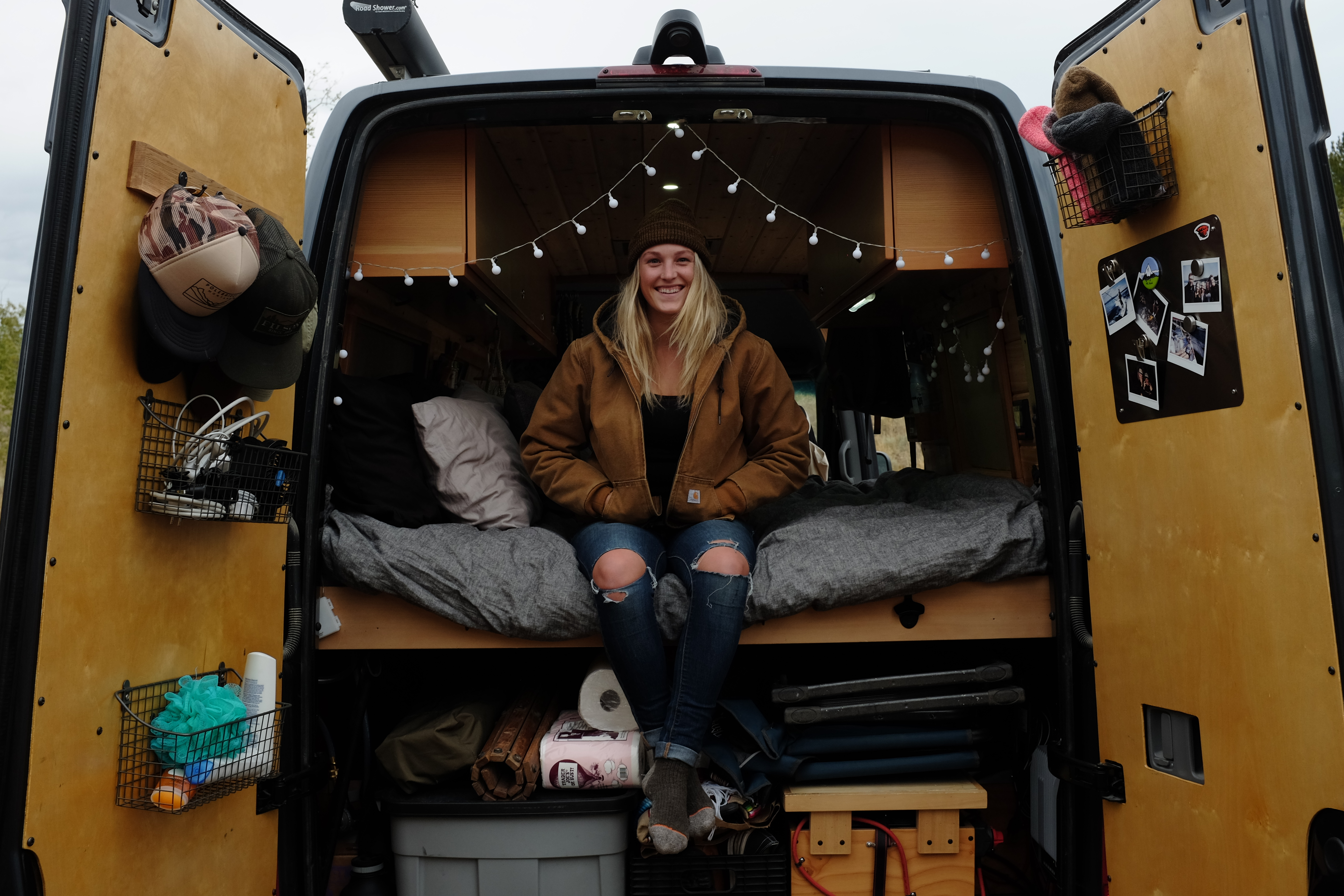 hanging out in the back of our camper van