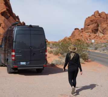 walking back to the van after a long hike in valley of fire